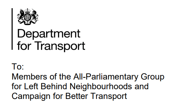 Letter from Baroness Vere, Minister for Roads, Buses and Places